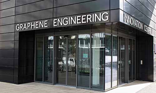 Exterior shot of entrance to the Graphene Engineering Innovation Centre