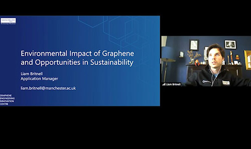 Screengrab of Liam Britnell's presentation on the Environmental challenges and opportunities around graphene