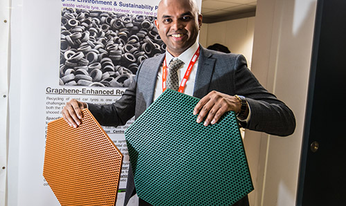 Vivek Koncherry, founder of Space Blue, showing his graphene-enhanced mats made from recycled tyres