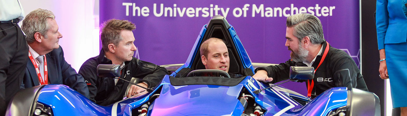 The Duke of Cambridge in a graphene F1 car